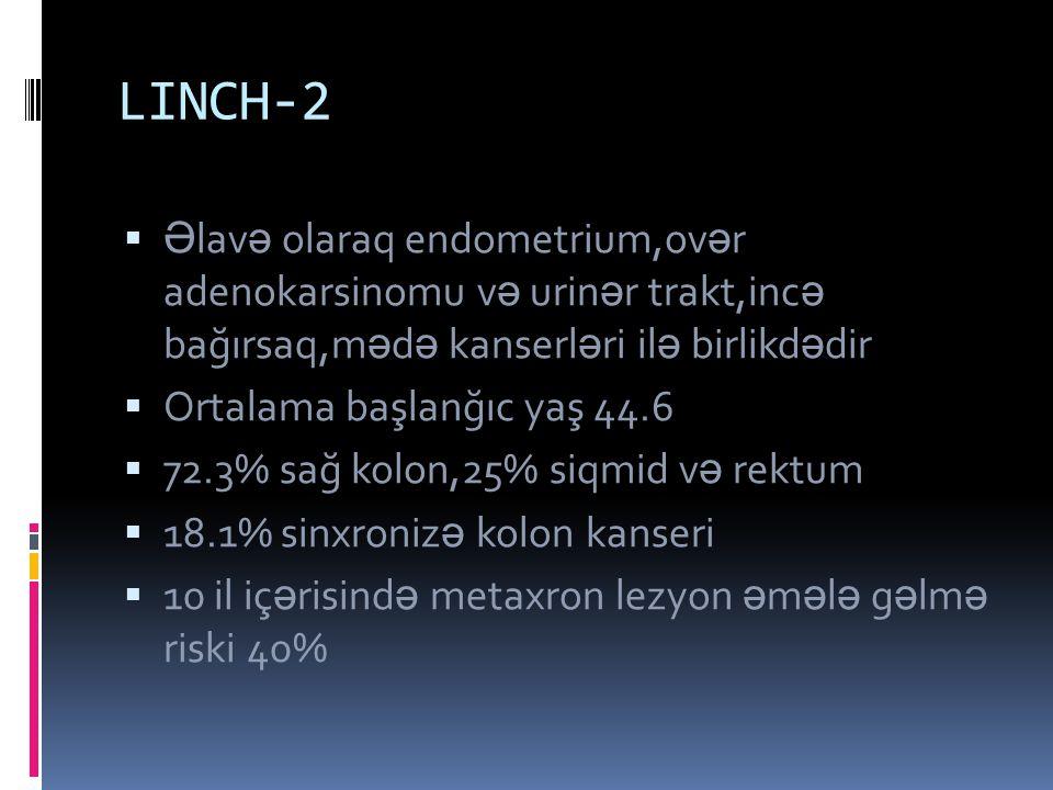 LINCH-2 Əlavə olaraq endometrium,ovər adenokarsinomu və urinər trakt,incə bağırsaq,mədə kanserləri ilə birlikdədir.