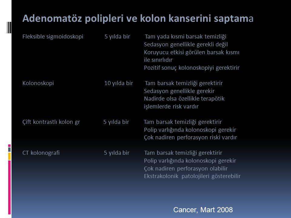 Adenomatöz polipleri ve kolon kanserini saptama