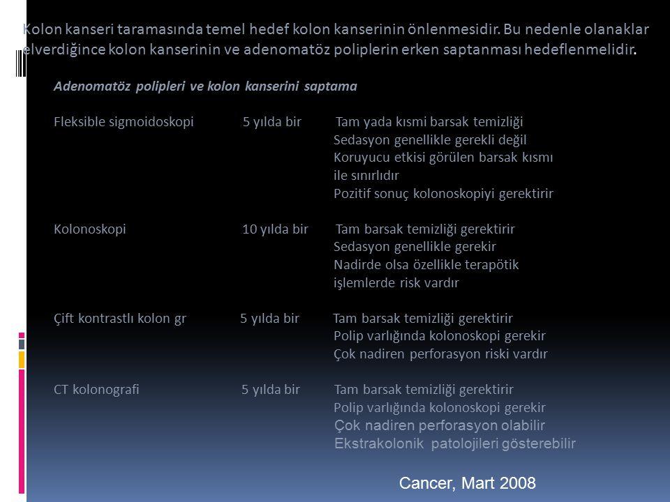 Kolon kanseri taramasında temel hedef kolon kanserinin önlenmesidir