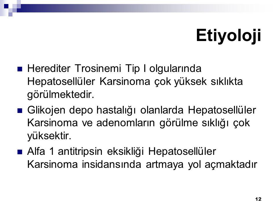 Etiyoloji Herediter Trosinemi Tip I olgularında Hepatosellüler Karsinoma çok yüksek sıklıkta görülmektedir.