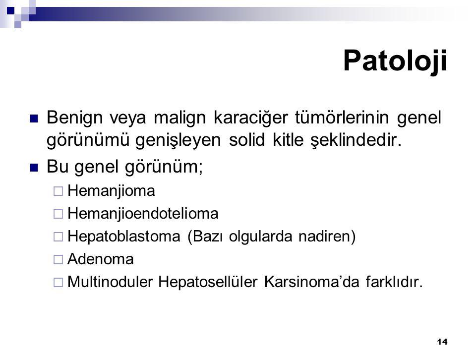 Patoloji Benign veya malign karaciğer tümörlerinin genel görünümü genişleyen solid kitle şeklindedir.