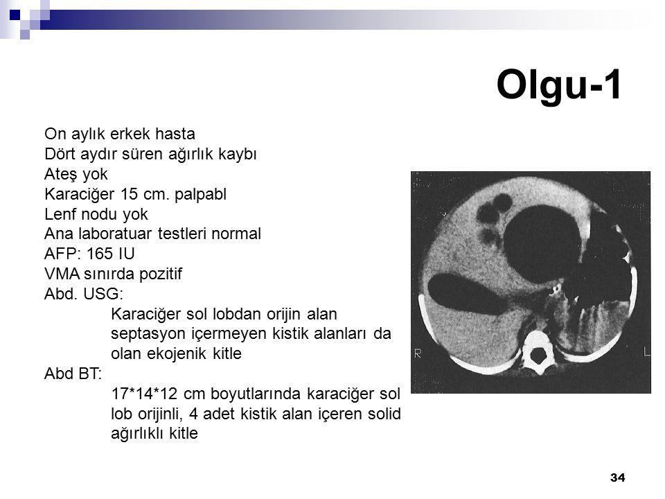 Olgu-1 On aylık erkek hasta Dört aydır süren ağırlık kaybı Ateş yok