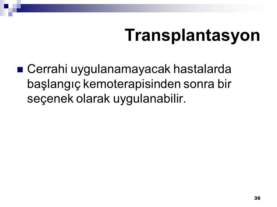 Transplantasyon Cerrahi uygulanamayacak hastalarda başlangıç kemoterapisinden sonra bir seçenek olarak uygulanabilir.