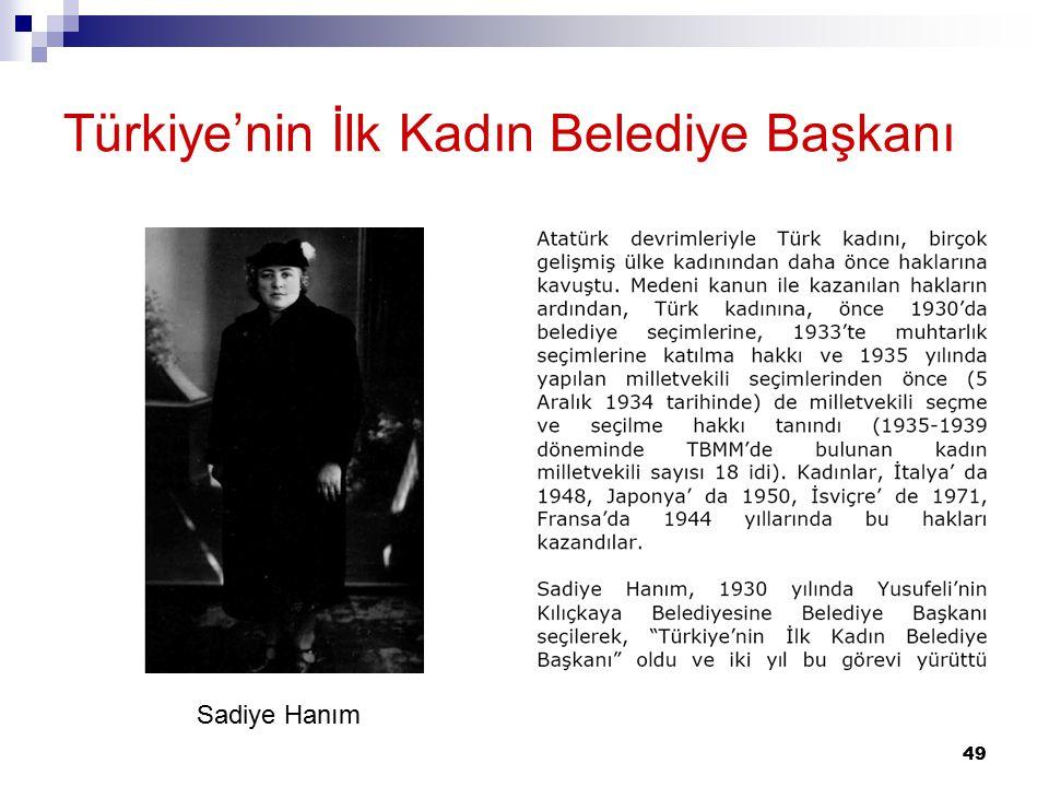 Türkiye'nin İlk Kadın Belediye Başkanı