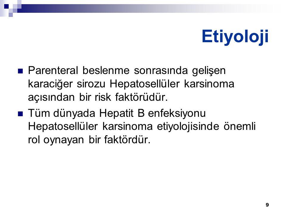 Etiyoloji Parenteral beslenme sonrasında gelişen karaciğer sirozu Hepatosellüler karsinoma açısından bir risk faktörüdür.