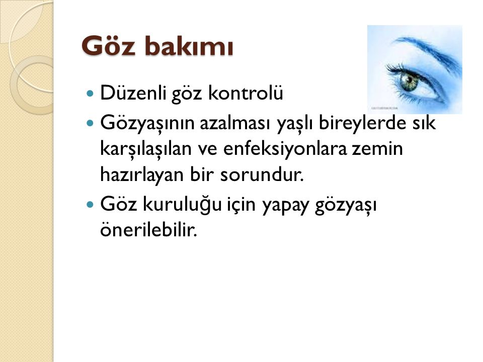 Göz bakımı Düzenli göz kontrolü