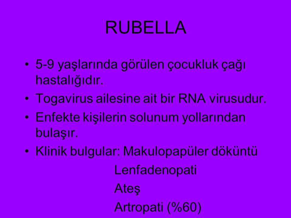 RUBELLA 5-9 yaşlarında görülen çocukluk çağı hastalığıdır.