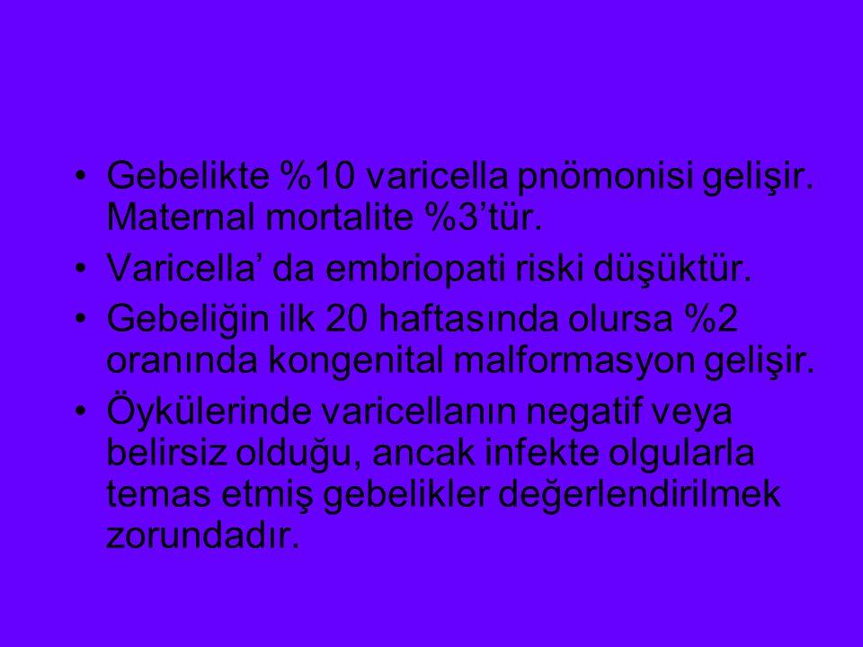 Gebelikte %10 varicella pnömonisi gelişir. Maternal mortalite %3'tür.