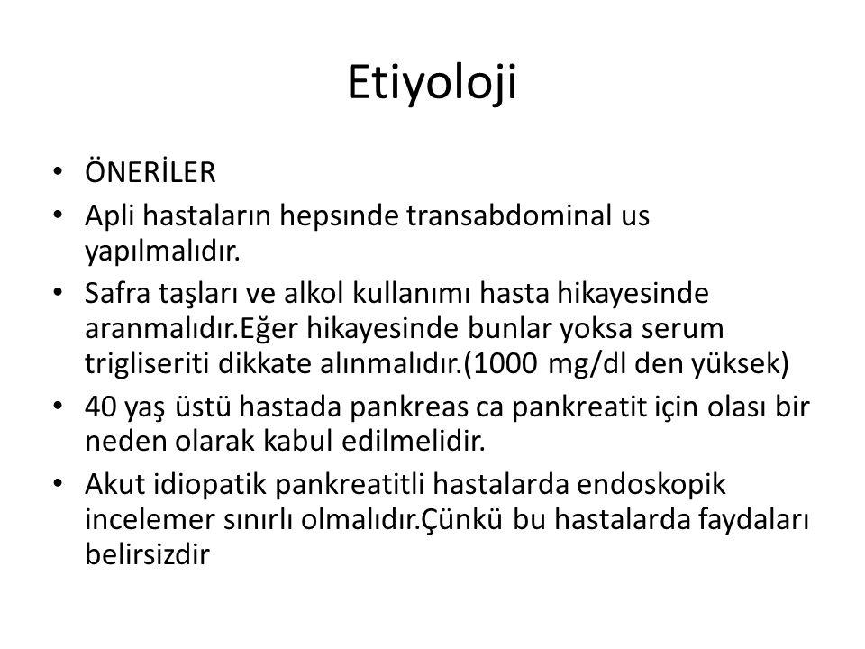 Etiyoloji ÖNERİLER. Apli hastaların hepsınde transabdominal us yapılmalıdır.