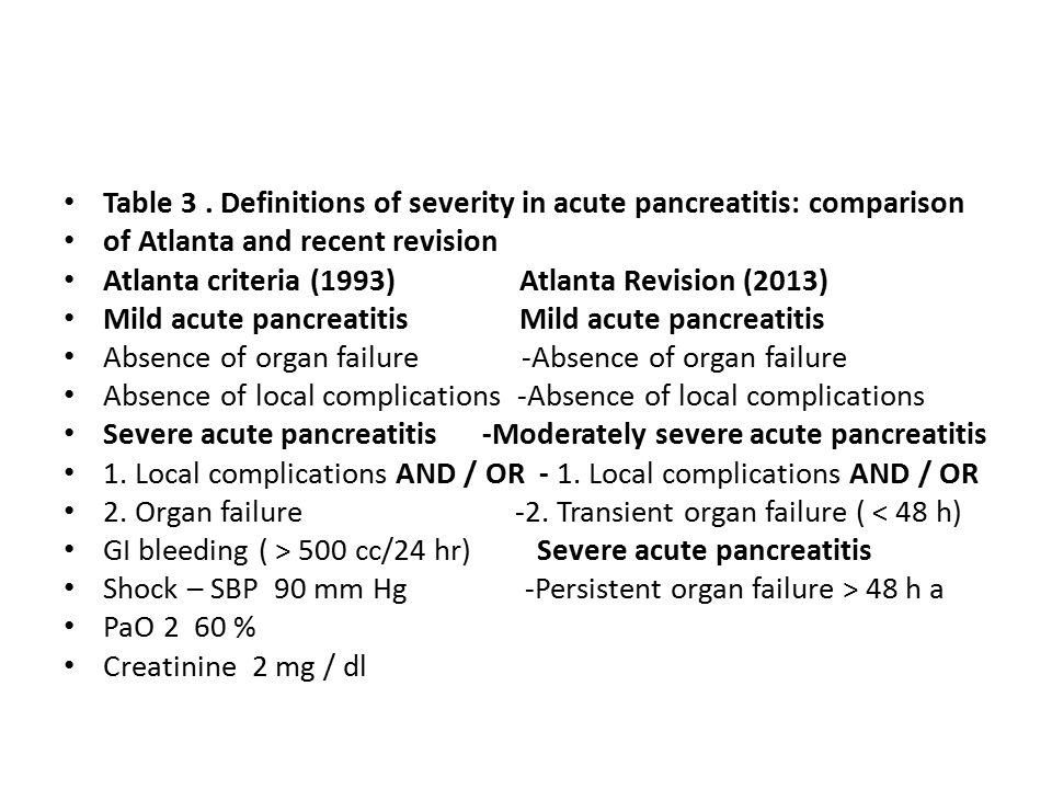 Table 3 . Definitions of severity in acute pancreatitis: comparison