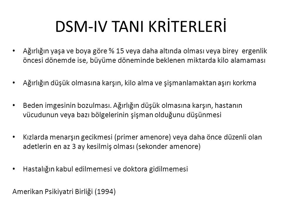 DSM-IV TANI KRİTERLERİ