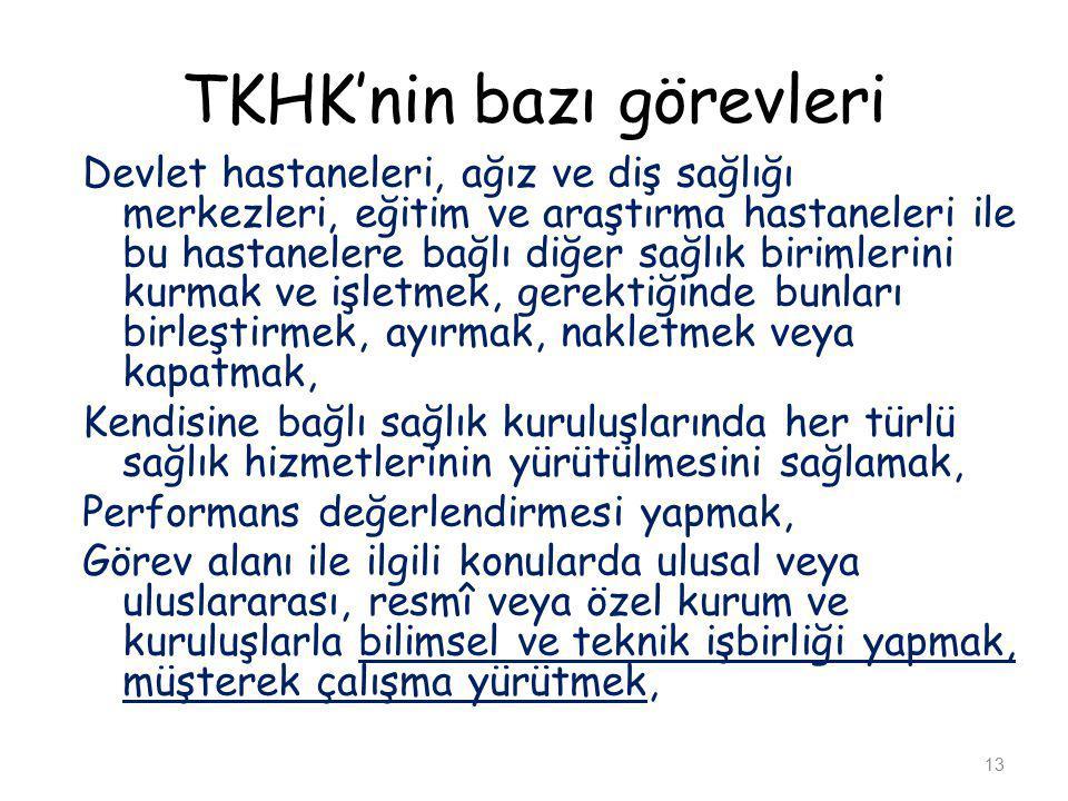TKHK'nin bazı görevleri