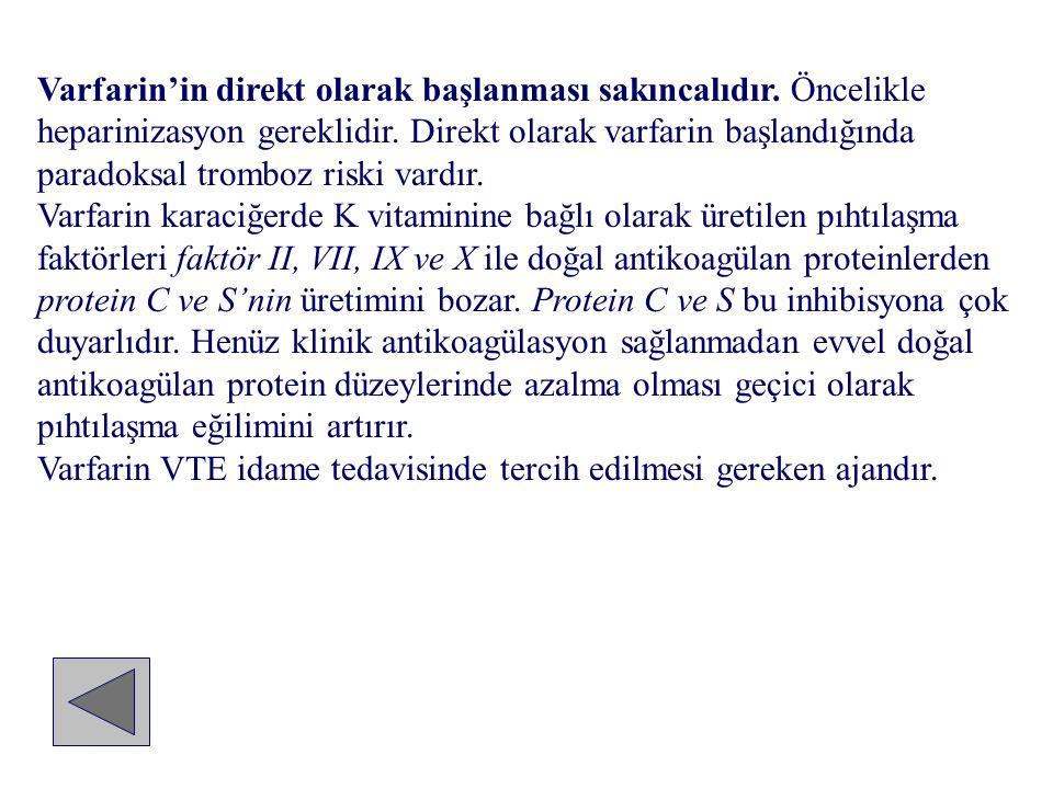 Varfarin'in direkt olarak başlanması sakıncalıdır. Öncelikle