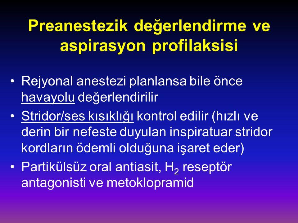 Preanestezik değerlendirme ve aspirasyon profilaksisi