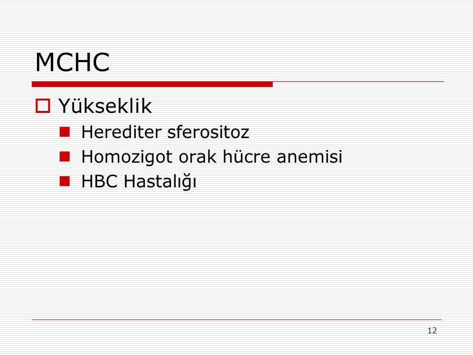 MCHC Yükseklik Herediter sferositoz Homozigot orak hücre anemisi