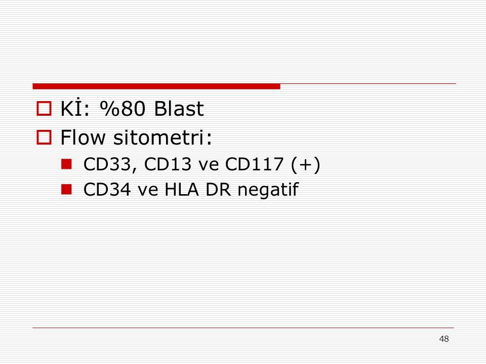 Kİ: %80 Blast Flow sitometri: CD33, CD13 ve CD117 (+)