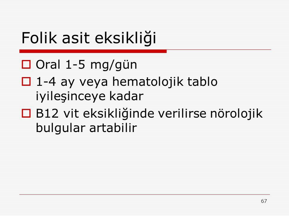 Folik asit eksikliği Oral 1-5 mg/gün