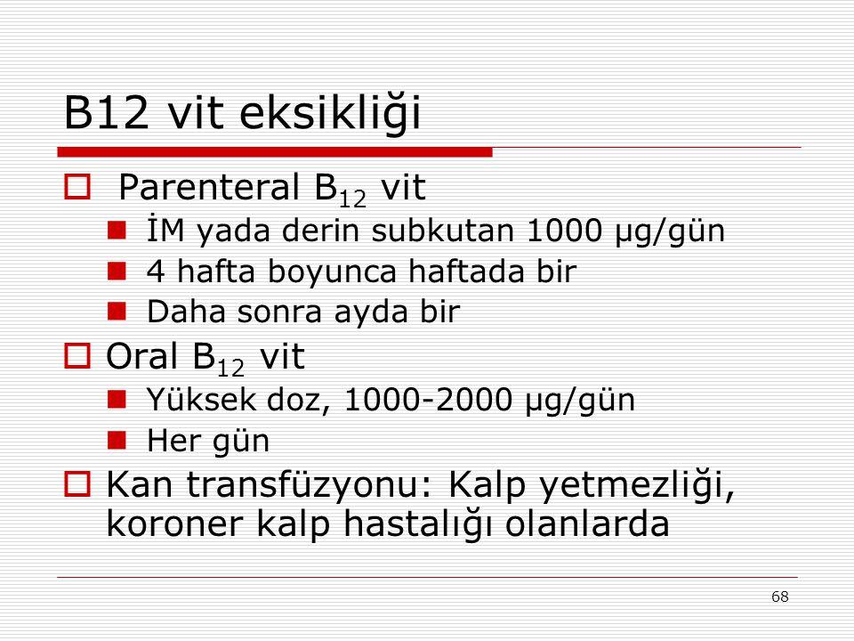B12 vit eksikliği Parenteral B12 vit Oral B12 vit