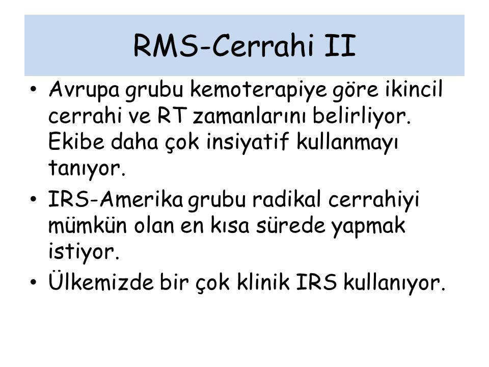 RMS-Cerrahi II Avrupa grubu kemoterapiye göre ikincil cerrahi ve RT zamanlarını belirliyor. Ekibe daha çok insiyatif kullanmayı tanıyor.
