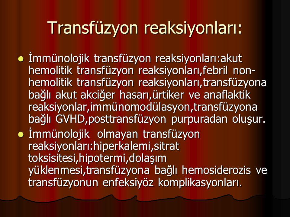 Transfüzyon reaksiyonları: