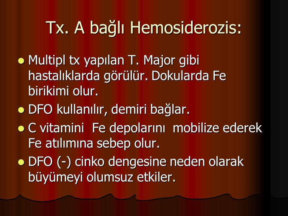 Tx. A bağlı Hemosiderozis:
