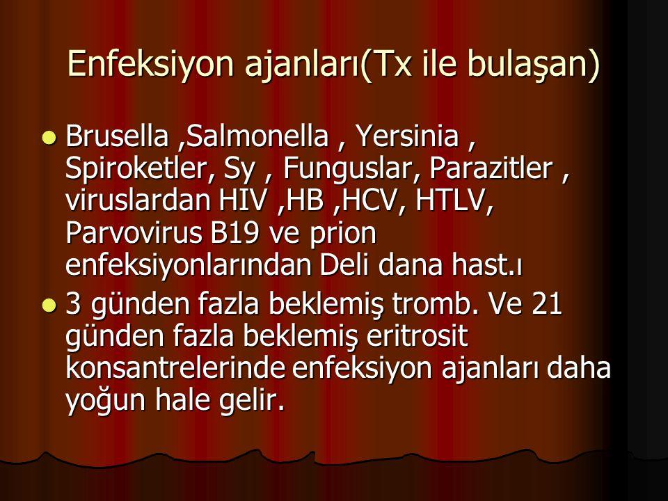 Enfeksiyon ajanları(Tx ile bulaşan)