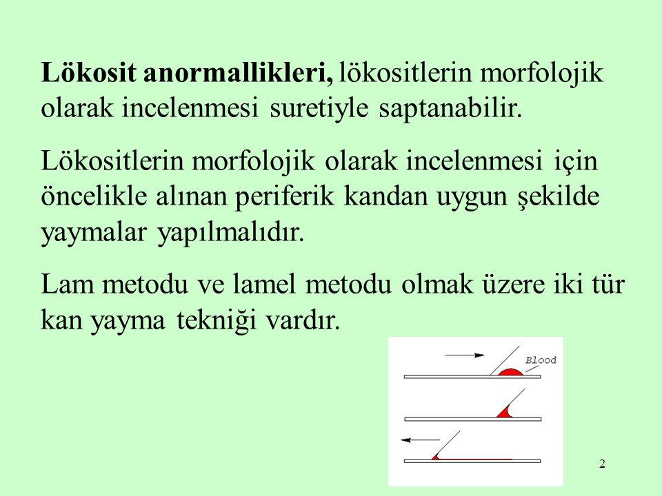 Lökosit anormallikleri, lökositlerin morfolojik olarak incelenmesi suretiyle saptanabilir.