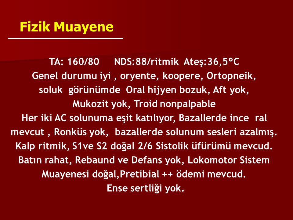 Fizik Muayene TA: 160/80 NDS:88/ritmik Ateş:36,5°C