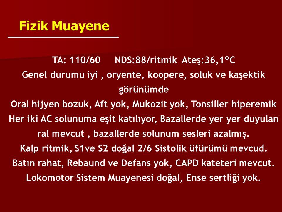Fizik Muayene TA: 110/60 NDS:88/ritmik Ateş:36,1°C