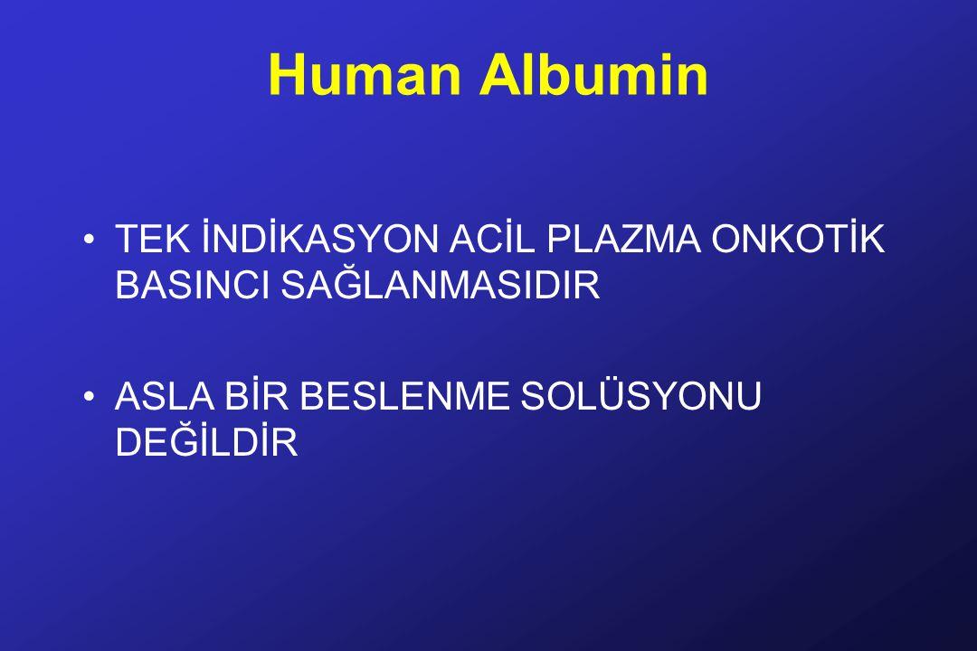 Human Albumin TEK İNDİKASYON ACİL PLAZMA ONKOTİK BASINCI SAĞLANMASIDIR