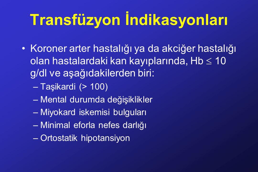 Transfüzyon İndikasyonları
