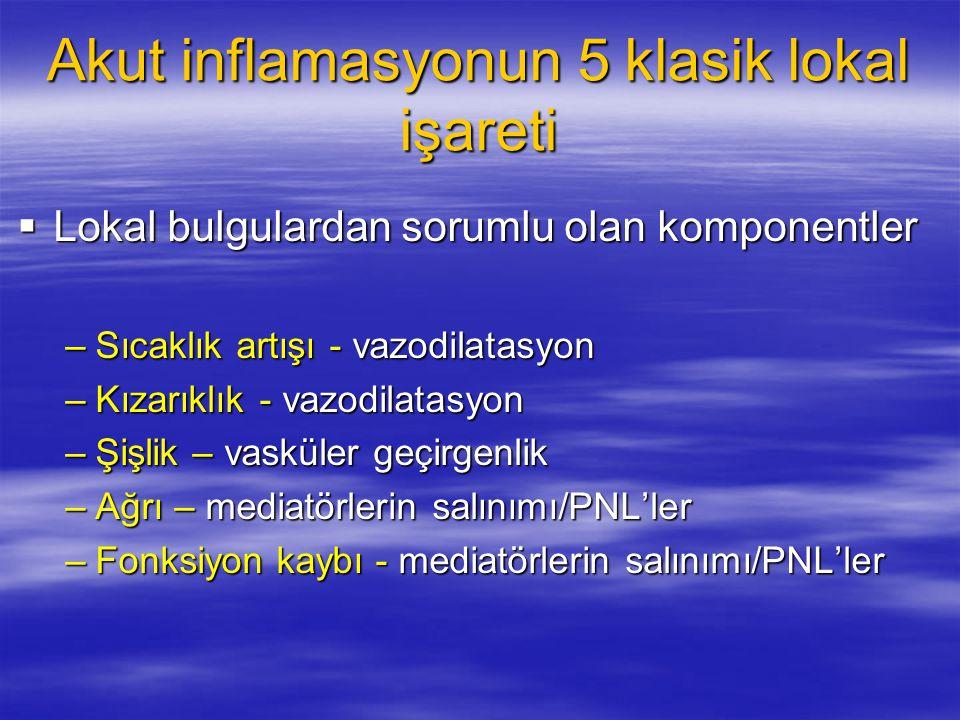 Akut inflamasyonun 5 klasik lokal işareti