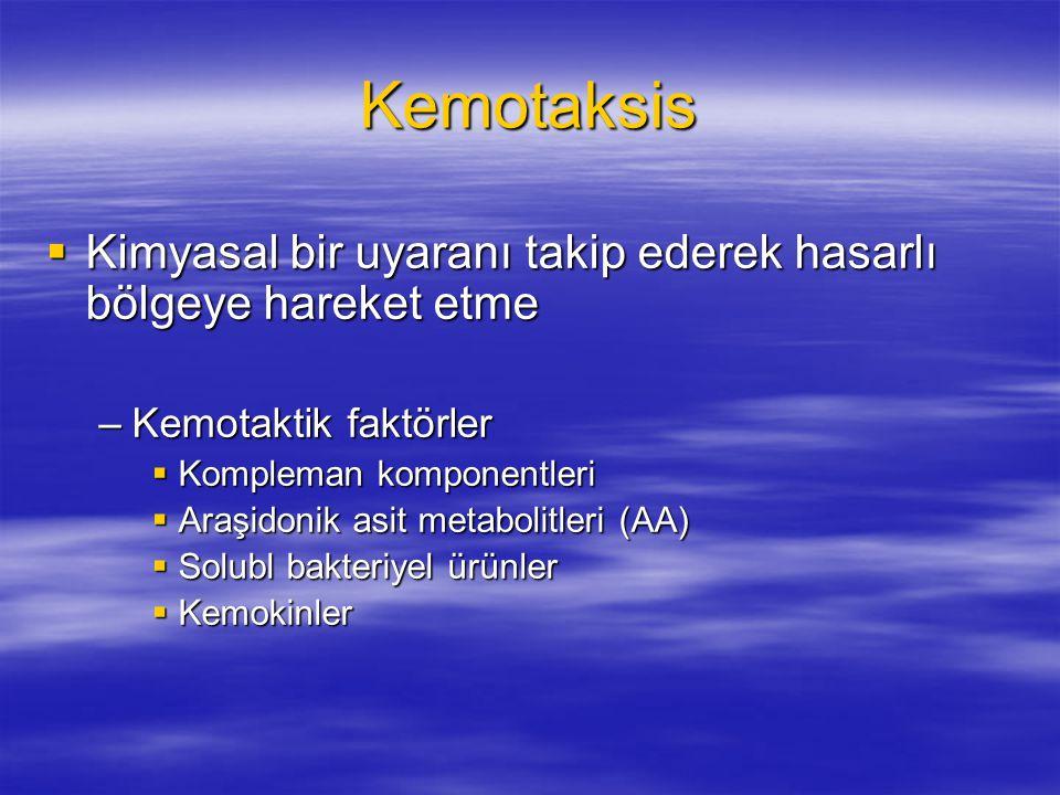 Kemotaksis Kimyasal bir uyaranı takip ederek hasarlı bölgeye hareket etme. Kemotaktik faktörler. Kompleman komponentleri.
