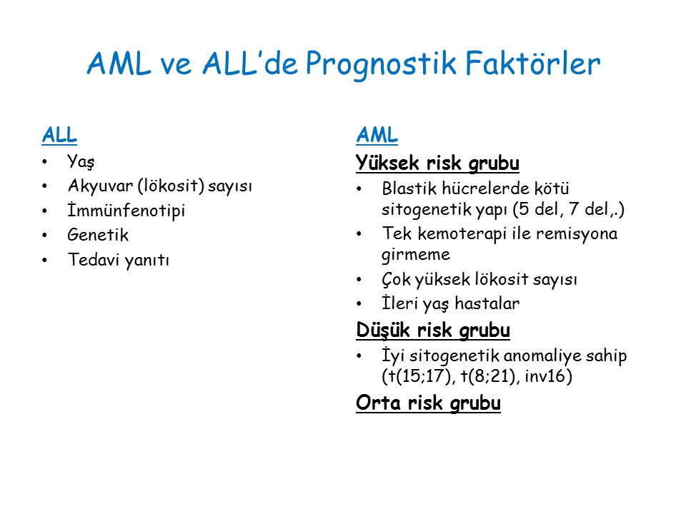 AML ve ALL'de Prognostik Faktörler
