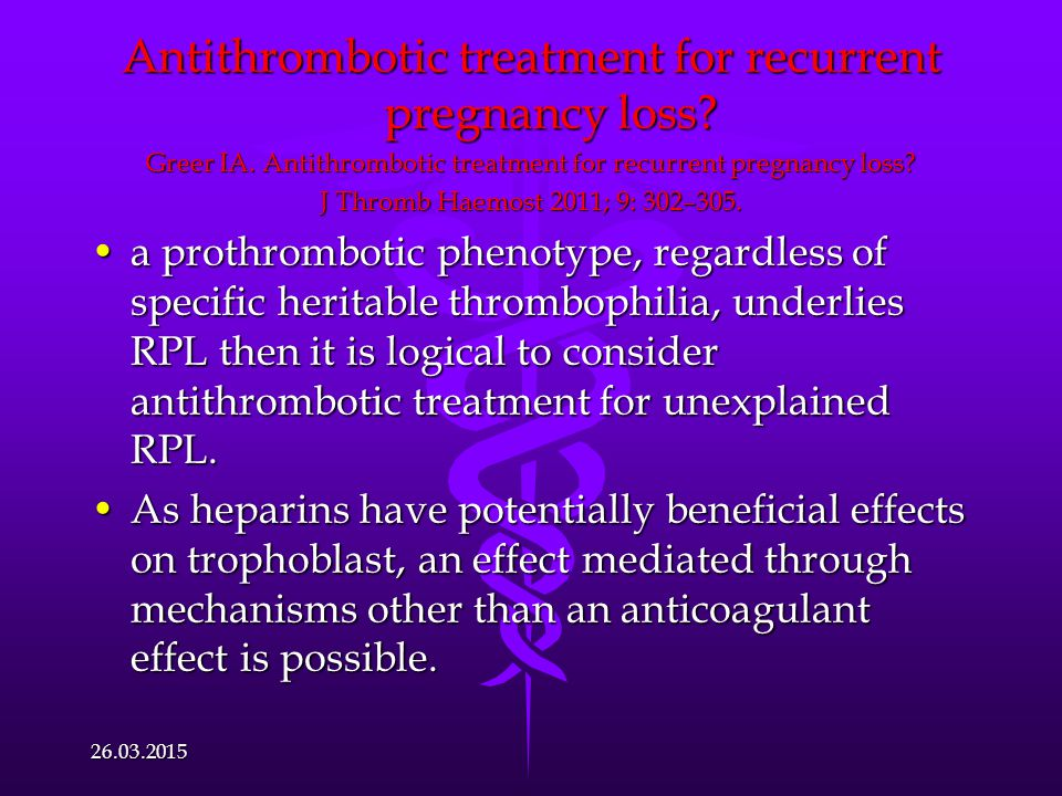 Antithrombotic treatment for recurrent pregnancy loss