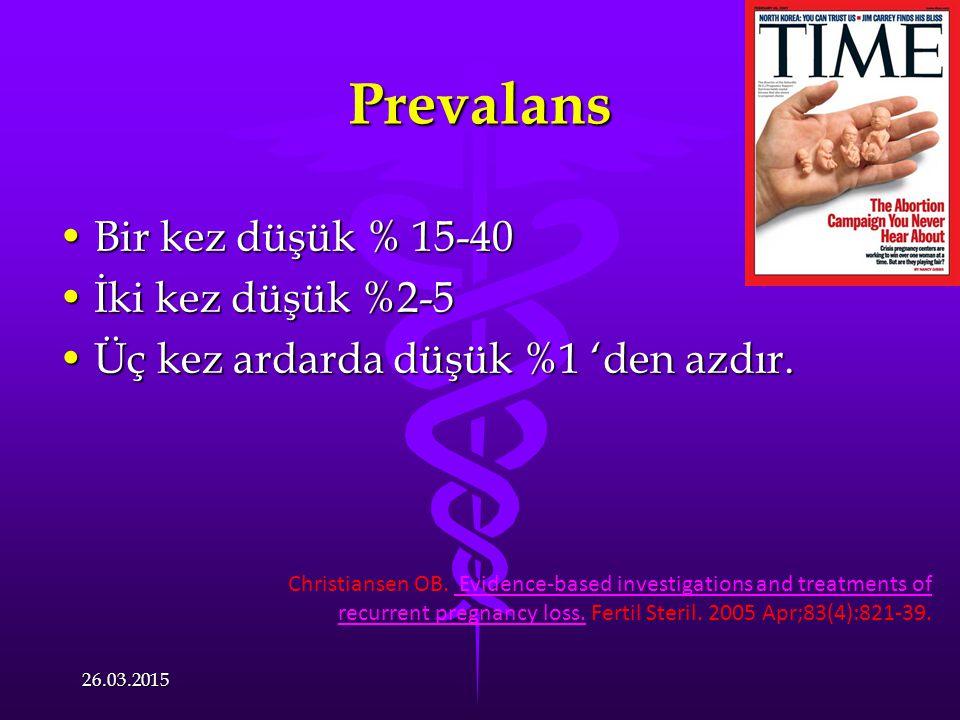Prevalans Bir kez düşük % 15-40 İki kez düşük %2-5