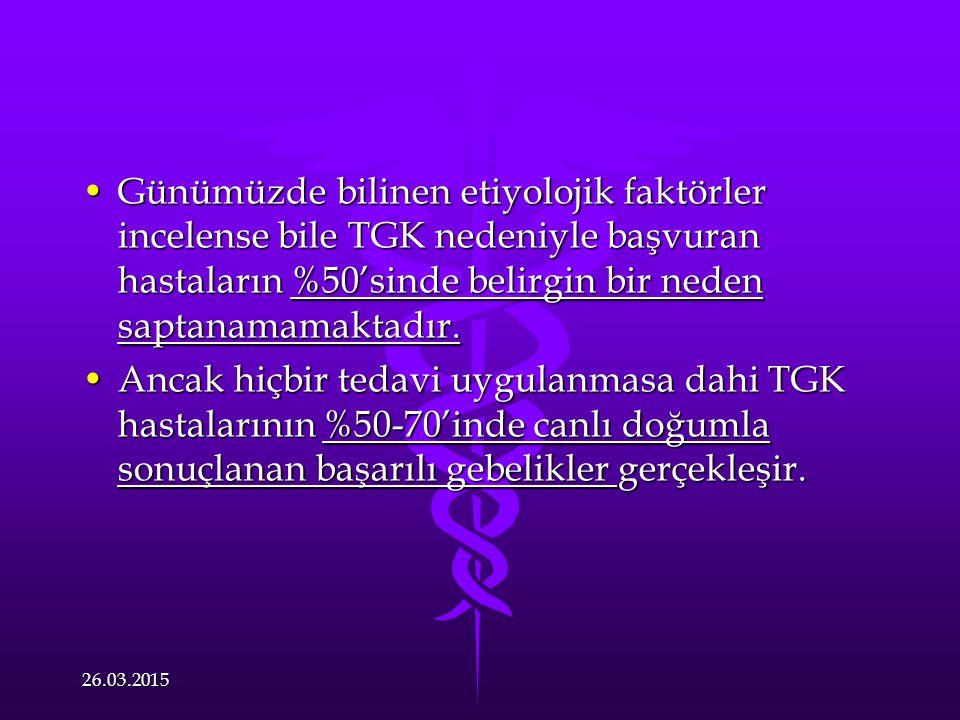 Günümüzde bilinen etiyolojik faktörler incelense bile TGK nedeniyle başvuran hastaların %50'sinde belirgin bir neden saptanamamaktadır.