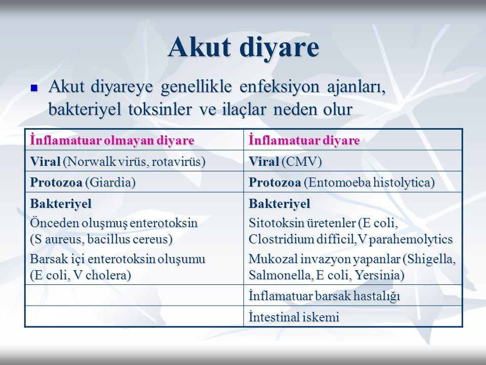 Akut diyare Akut diyareye genellikle enfeksiyon ajanları, bakteriyel toksinler ve ilaçlar neden olur.