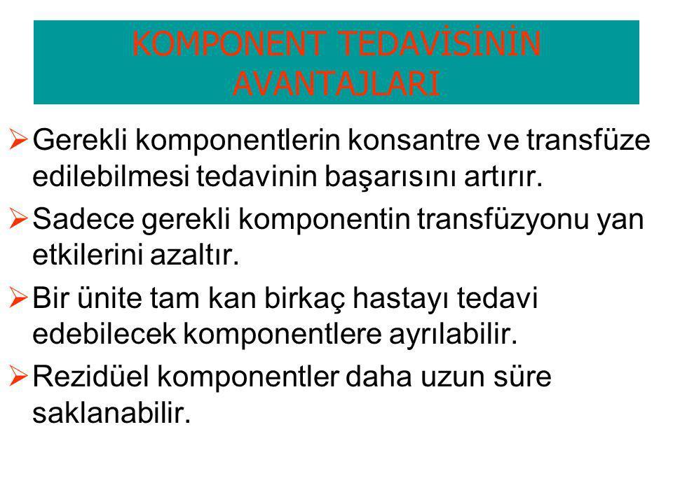KOMPONENT TEDAVİSİNİN AVANTAJLARI