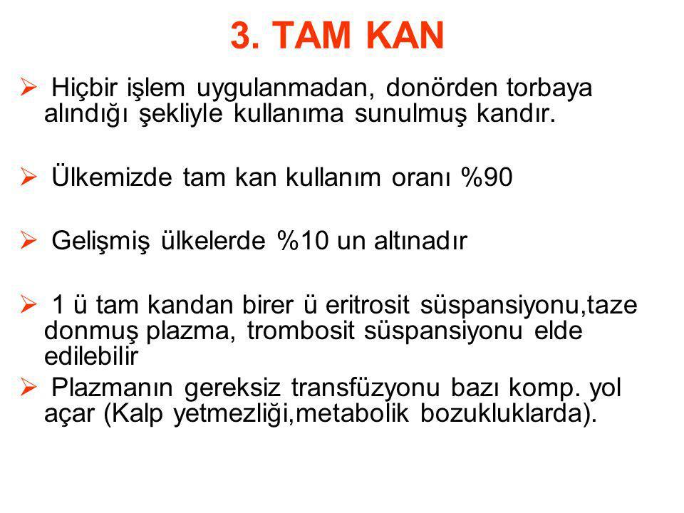 3. TAM KAN Hiçbir işlem uygulanmadan, donörden torbaya alındığı şekliyle kullanıma sunulmuş kandır.