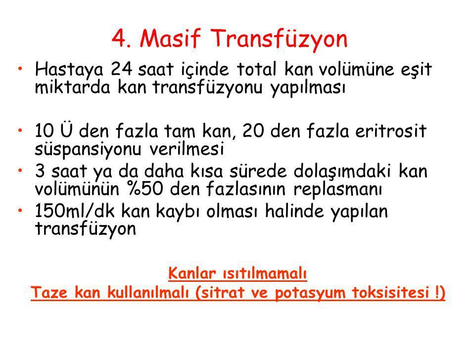 Taze kan kullanılmalı (sitrat ve potasyum toksisitesi !)