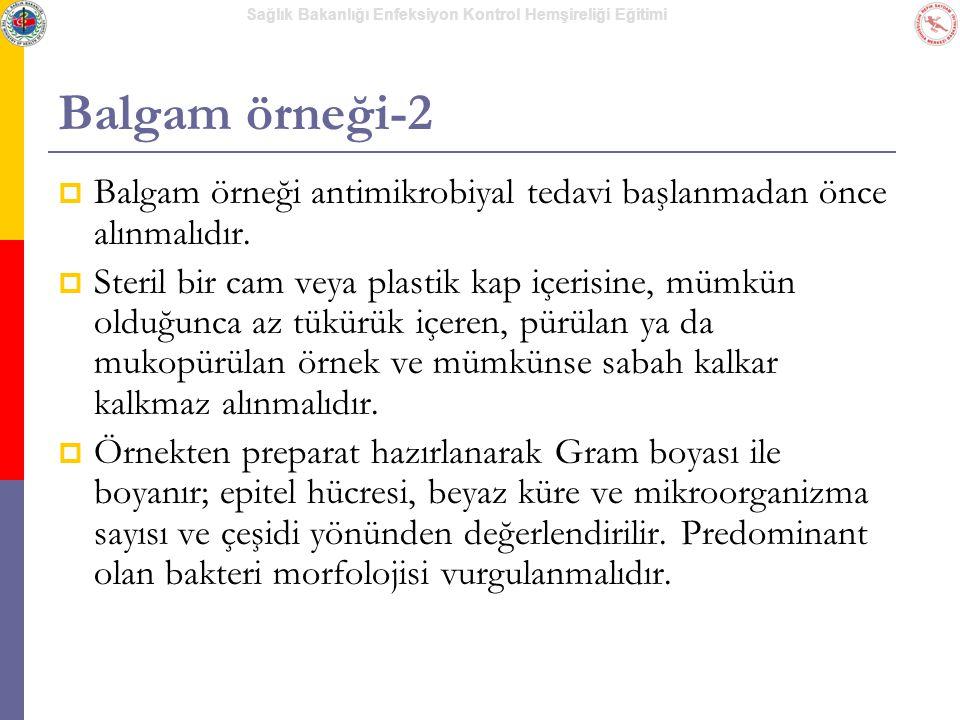 Balgam örneği-2 Balgam örneği antimikrobiyal tedavi başlanmadan önce alınmalıdır.