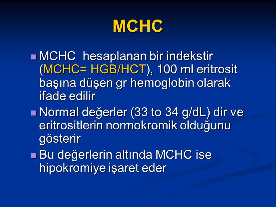 MCHC MCHC hesaplanan bir indekstir (MCHC= HGB/HCT), 100 ml eritrosit başına düşen gr hemoglobin olarak ifade edilir.