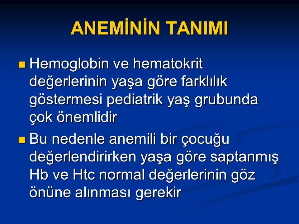 ANEMİNİN TANIMI Hemoglobin ve hematokrit değerlerinin yaşa göre farklılık göstermesi pediatrik yaş grubunda çok önemlidir.