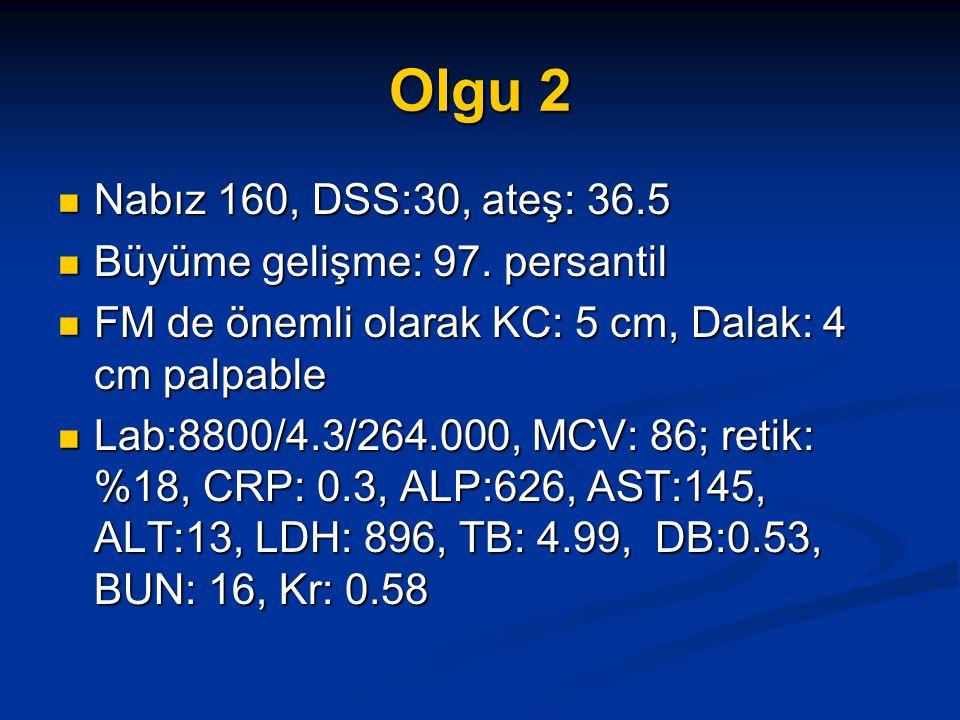 Olgu 2 Nabız 160, DSS:30, ateş: 36.5 Büyüme gelişme: 97. persantil