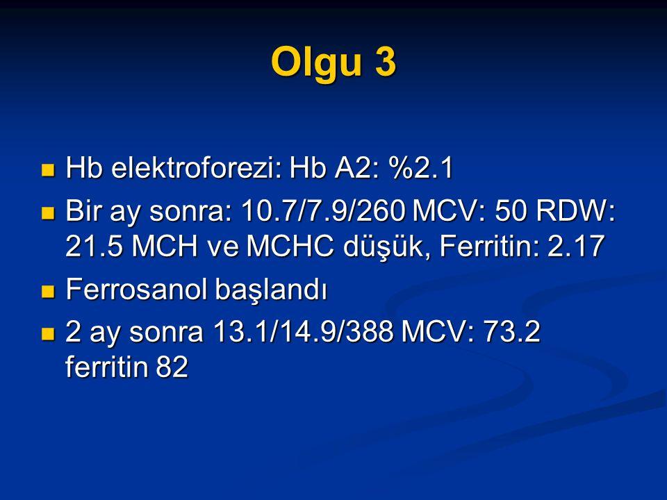 Olgu 3 Hb elektroforezi: Hb A2: %2.1