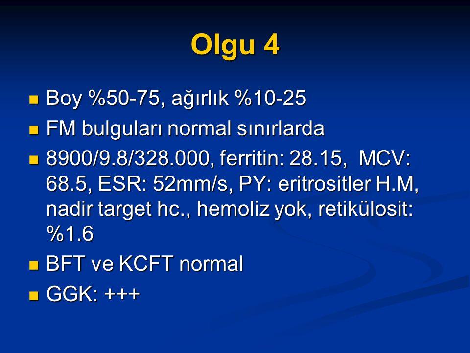 Olgu 4 Boy %50-75, ağırlık %10-25 FM bulguları normal sınırlarda