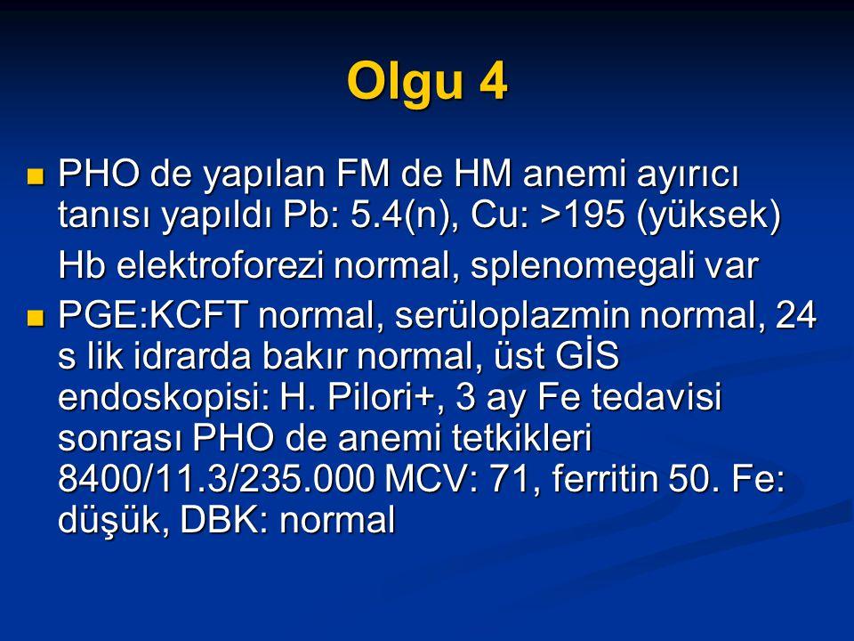 Olgu 4 PHO de yapılan FM de HM anemi ayırıcı tanısı yapıldı Pb: 5.4(n), Cu: >195 (yüksek) Hb elektroforezi normal, splenomegali var.