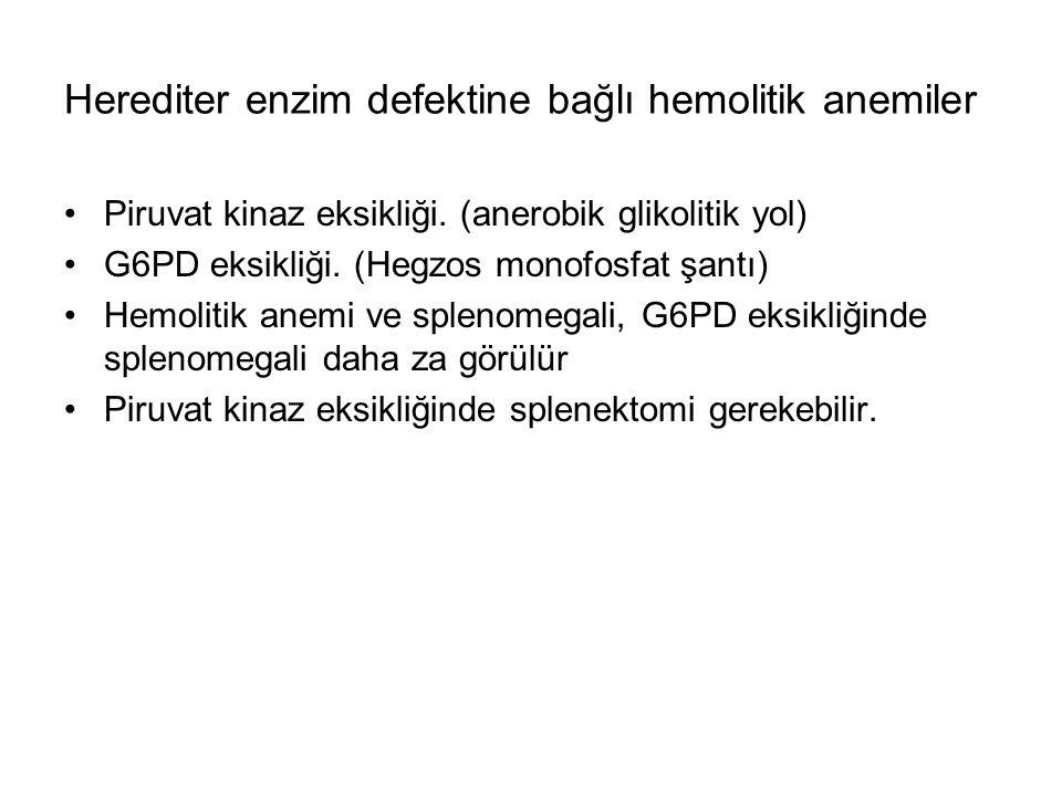 Herediter enzim defektine bağlı hemolitik anemiler