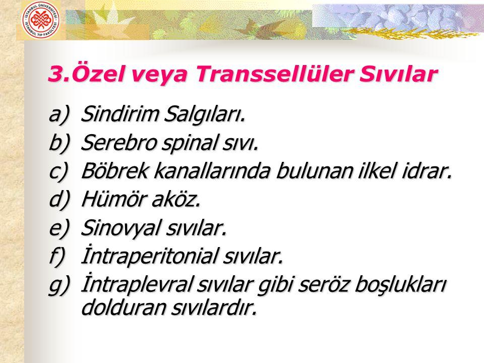 3.Özel veya Transsellüler Sıvılar